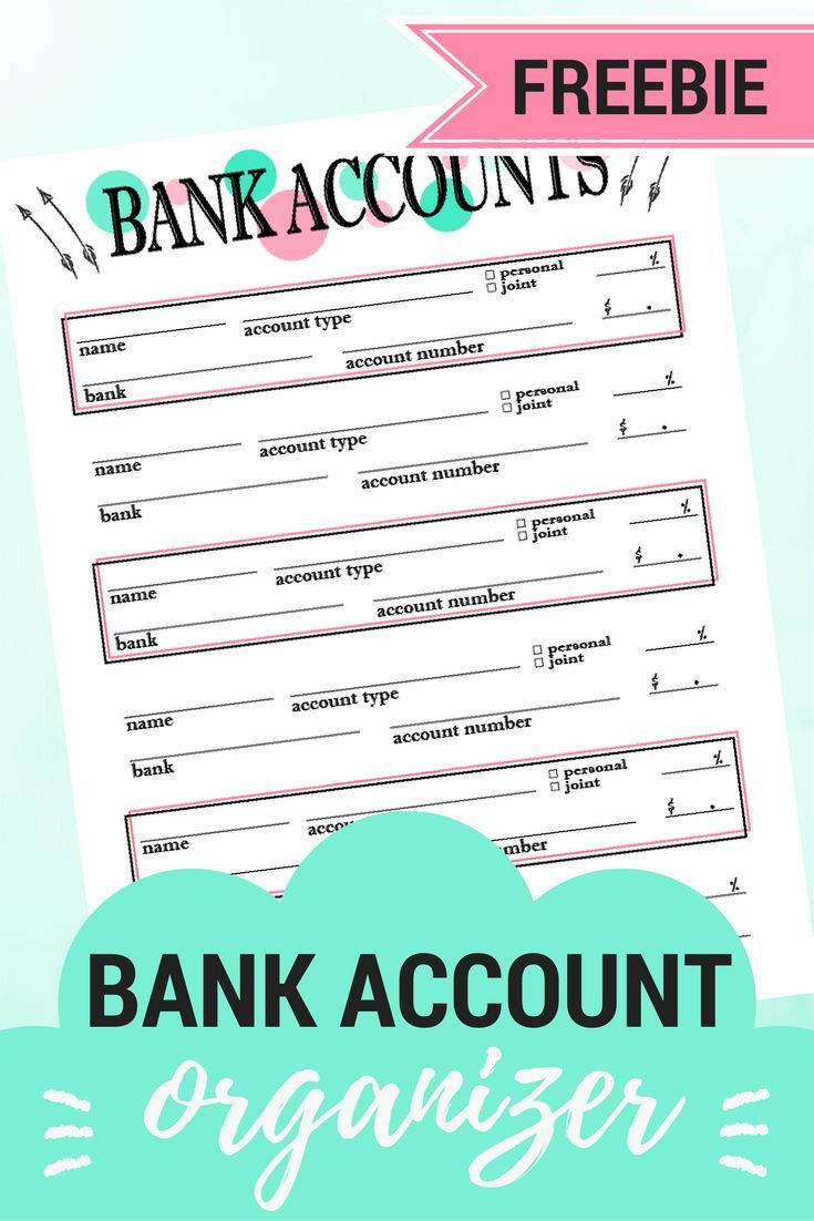 Organize your bank accounts with this free bank account printable for your planner!