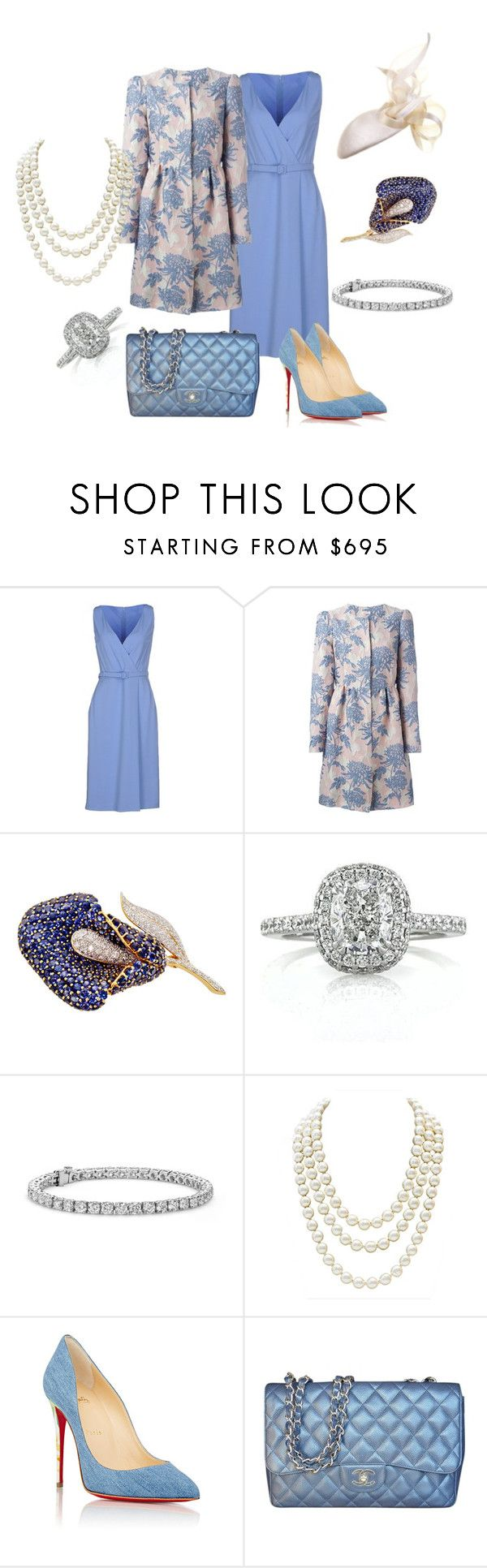 State Visit to Vietnam Day 3: Departure by queenalex on Polyvore featuring мода, Gucci, P.A.R.O.S.H., Christian Louboutin, Chanel, Mark Broumand, Blue Nile and Philip Treacy
