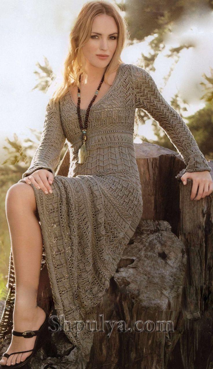 www.SHPULYA.com - Платье в романтическом стиле, вязаное спицами