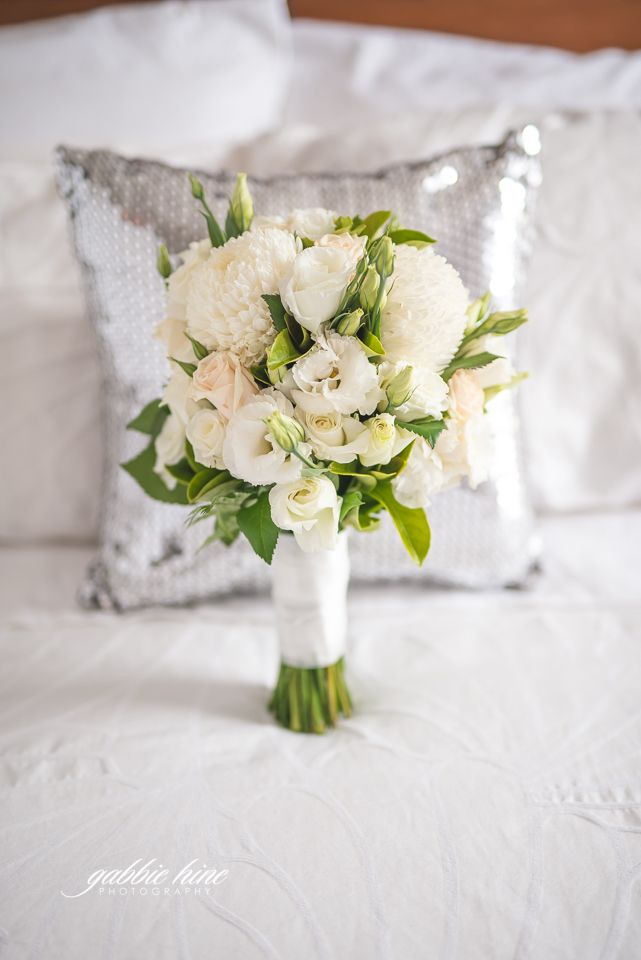 Bridal bouquet - balanced on the bed. The sequinned cushion makes this shot!