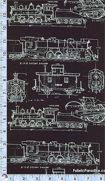 Timeless treasures fabric vintage train drawings black for Train fabric by the yard