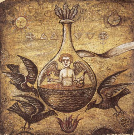 "Immersed in mercurial water, the homunculus (Latin, ""little man), having undergone the calcinations of the sun, is heated to the point of sophic putrefaction. The alchemist's flame underneath is closely guarded by three black crows (or ravens), themselves associated with the process of putrefaction."