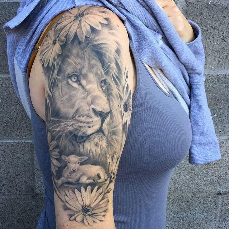 Snagged a healed pic of this lion and lamb. #chasetafoya #art #artist #tattoo #tattoos #tattooartist ...