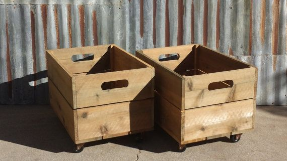 New Wood Crate Children's Rolling Wooden Toy Box With Castors on Etsy, $44.23 AUD