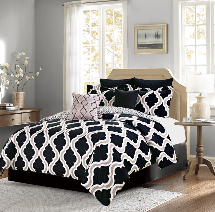 Crest Home Crestlake Queen Size Bedding Comforter 7 Piece Bed Set, Black and Tan Quatrefoil