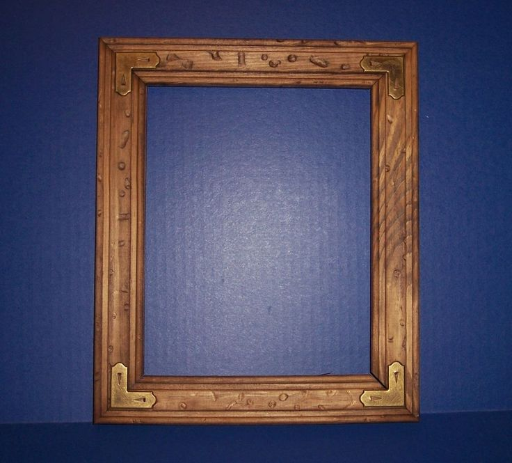8X10 Rustic Wood Picture Frame Brass Corners NEW