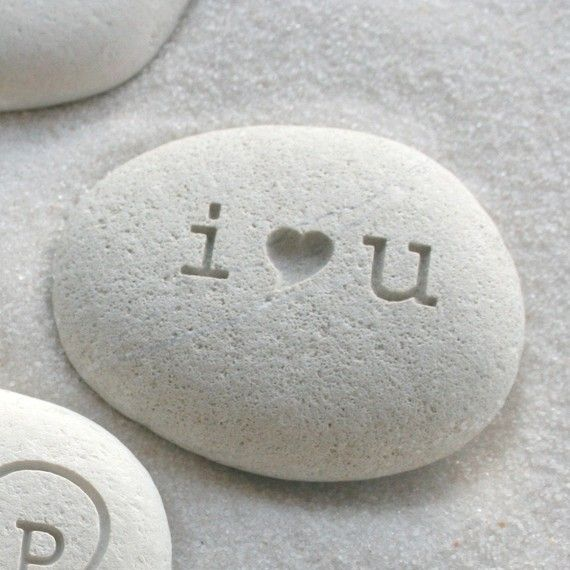 i heart u beach pebble  I love you gift stone  by sjengraving, $14.00