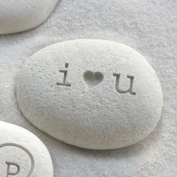 Me encanta playa grabado Stone piedra del amor por sjengraving