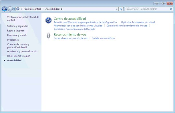 Qué es el Panel de control de Windows 7 y qué hay en él: Accesibilidad