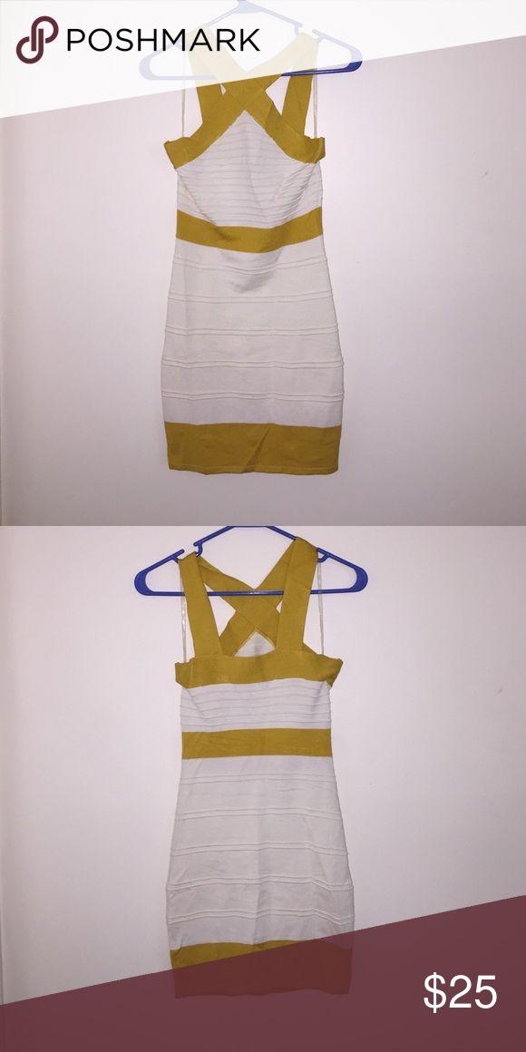 Mustard and beige mini dress Never worn , mustard and beige mini  , bandage dress hot miami styles Dresses Mini
