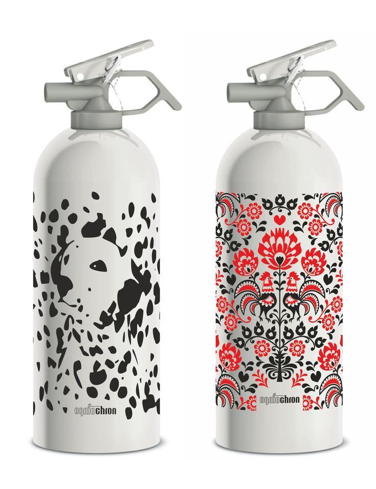 Nowe wzory gaśnic domowych. New design on home fire extinguishers.