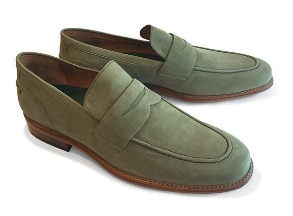 Men's Goodyear Welted Loafer Military Green Nubuck