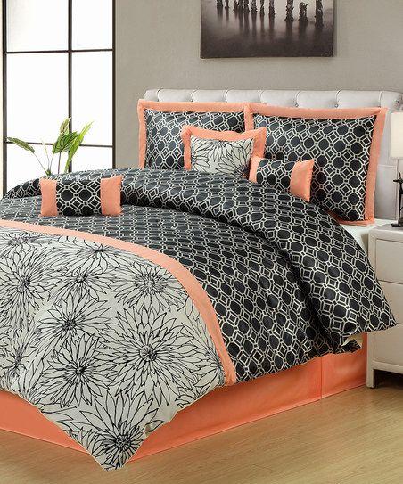 Salmon  Black Montreal Comforter Set - love the colors together