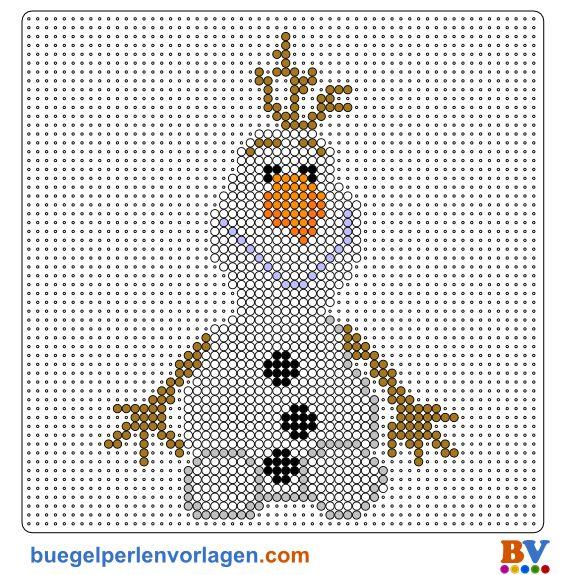 Frozen Die Eiskönigin Olaf Bügelperlen Vorlage - perler bead pattern. Totally doing this