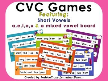 6 game boards (a,e,i,o, u and a mixed board) to help your students decode new words in a fun way! On sale 12/2 - 12/3!