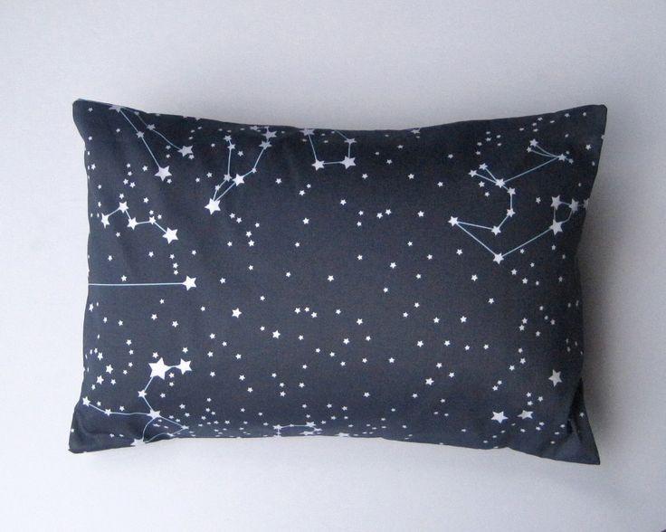 Goodnight Galaxy Pillow Sham Cover - Organic Toddler Pillow Cushion - Baby Nursery Decor in Dark Night Sky Blue - Eco friendly Home Decor. $48.00, via Etsy.