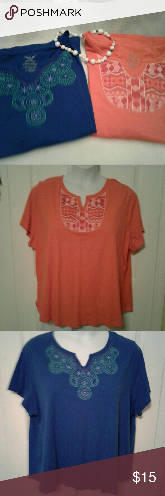 Bundle of nice  short sleeve  t's 1 orange short sleeve top, V cut out neckline,  embroidered designed front in reds, pinks,white. 100% cotton, good condition.  SIZE: 4X BY:  Faded Glory  1 blue short sleeve top with a v cutout neckline, embroidered design front in greens,white, purple. 100 % cotton, good condition.  SIZE: 4X. BY:  FADED GLORY Faded Glory Tops Tees - Short Sleeve