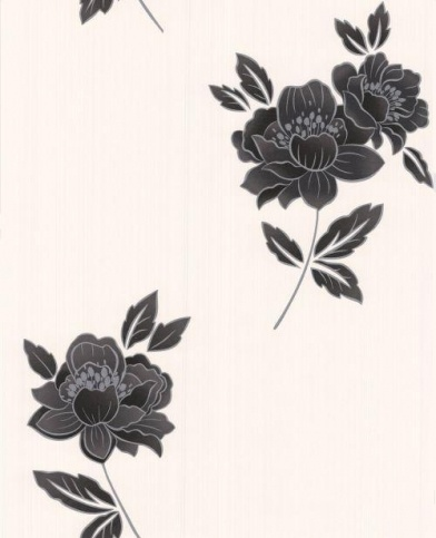 Lulu (30-508) - Graham and Brown Wallpapers - A pretty floral design with intricate sparkling detailing - showing in black and silver on a cream background with a light ribbed effect. other colour ways available. please request a sample for true colour match. Paste-the-wall product.