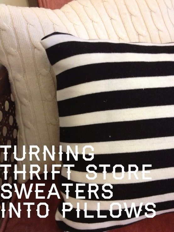 Turning thrift store sweaters into pillows