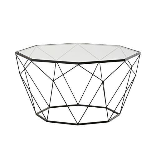 Blossom - Mesa baja de vidrio templado y metal negro