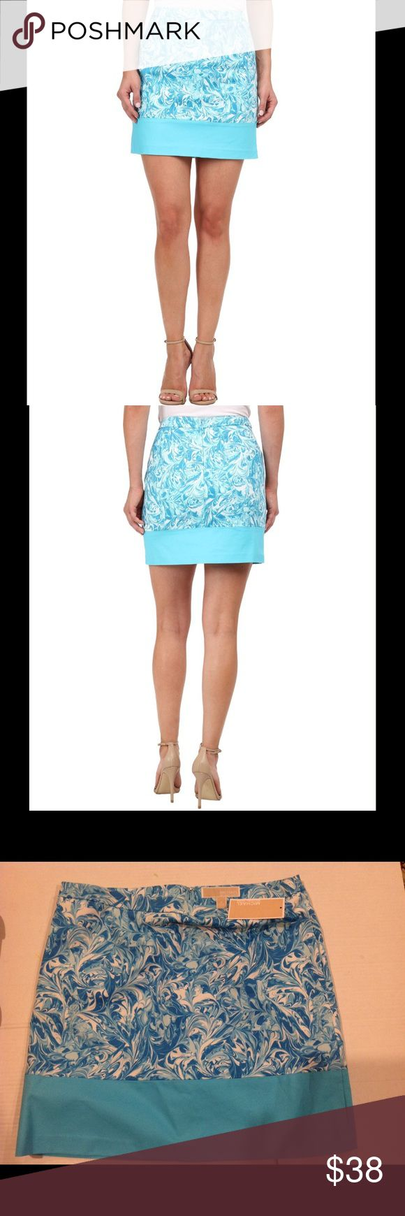"""WEEKEND OFFER 🆕 MICHAEL KORS TURQUOISE SKIRT. Michael Kors Mediterranean  turquoise print skirt. Fitted  waistband . Zip closure at back.Straight hemline with color block design. Lined. Machine wash cold.   Length approximately is 17"""" . Material - SHELL - 98% cotton 2 % elastane.   LINING - 97% polyester . 3 % spandex. Michael Kors Skirts Mini"""