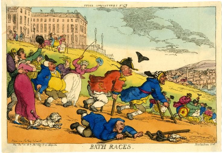 Bath Races. Thos Rowlandson. Hand-col. etching 20 Nov 1810 Pub. by Thos Tegg.  Gouty & rheumatic cripples & invalids rush down a hill below The Crescent, (inscribed 'Cripples Corner'.) The ailing disabled ensemble are satirically depicted hurtling headlong in a mock invalid race to the pump rooms & waters below in the famous spa-resort of Bath.
