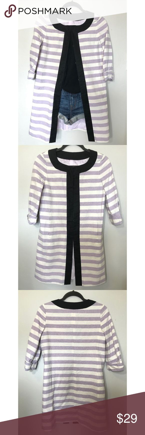 Long stripe jacket Super cute long jacket that you can wear as semi-formal and casual💜 I love to wear with jean shorts  Japanese brand Lavender & white stripe with black trim Outer : cotton 51% linen 49%  Lining : polyester 100%  Great condition, no wear or tear Jackets & Coats