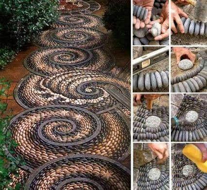 Decoracion Del Jardin Con Piedras Recicladas