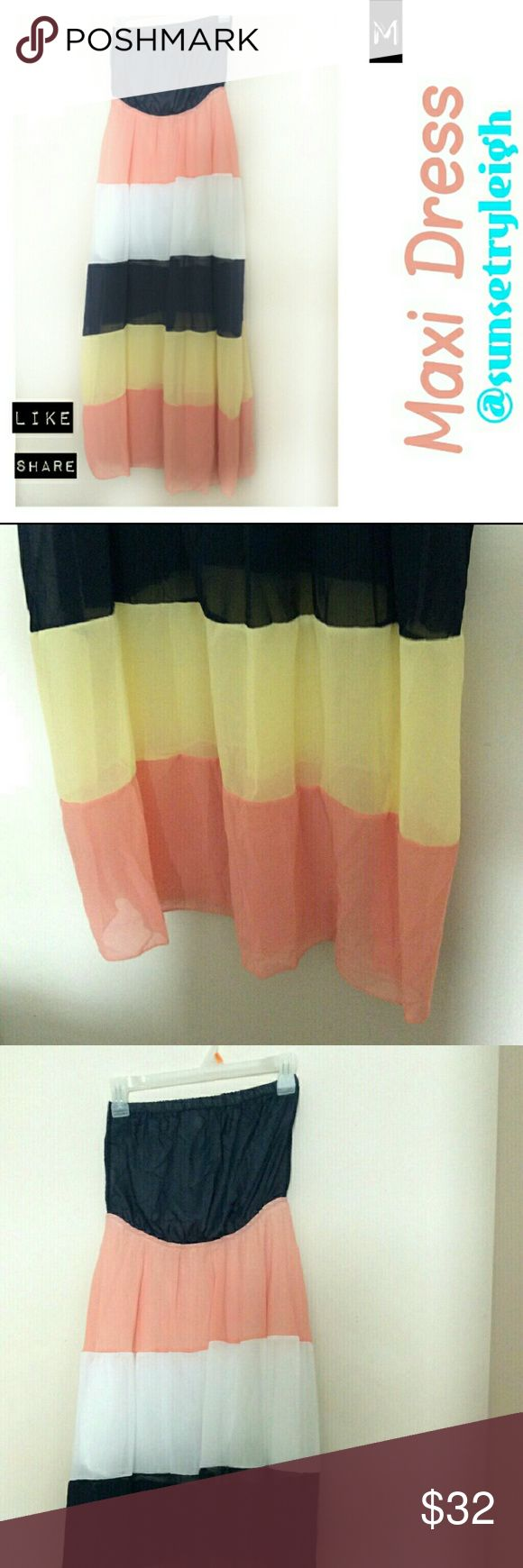 Maxi Dress Pastel Color Block Sumber Dress Sexy, long, flowy summer colorblock maxi dress. This top has elsatic ban, so it can stretch. It is pretty see-through, but great news! It has a bulit in slip! So no worries ladies. boutique  Dresses