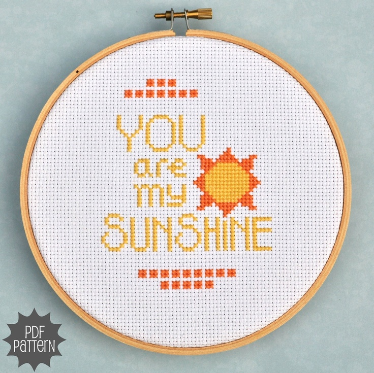 You Are My Sunshine Cross Stitch Chart, Printable Pattern. $4.00, via Etsy.