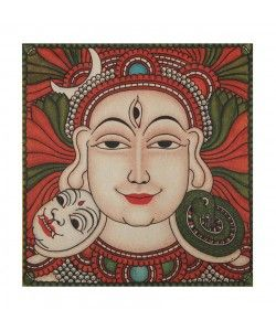 Kerala Canvas Mural of Lord Shiva - 12 Inches x 11 Inches
