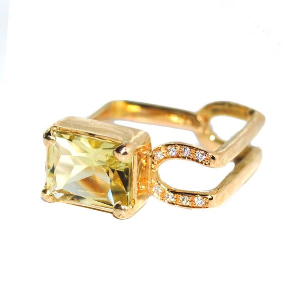 Contemporary engagement ring with lemon quartz by Florencehandmade, €1500.00
