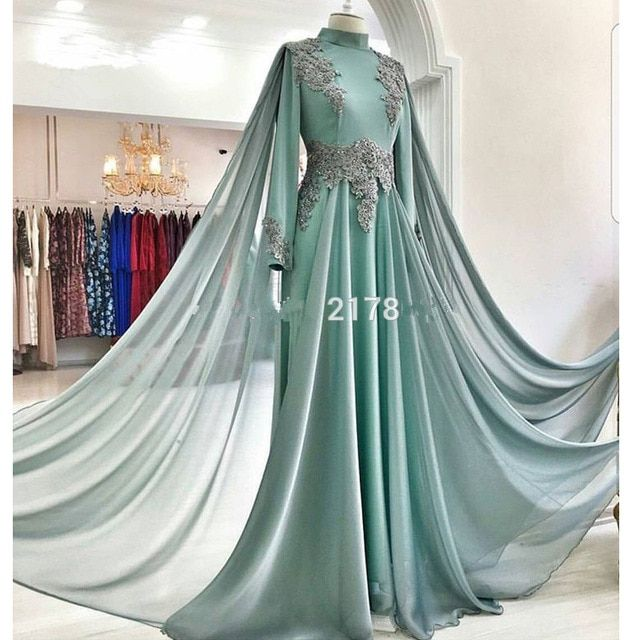 de0f441bf008c Elegant Muslim Evening Dresses 2019 A-line Long Sleeves Chiffon ...