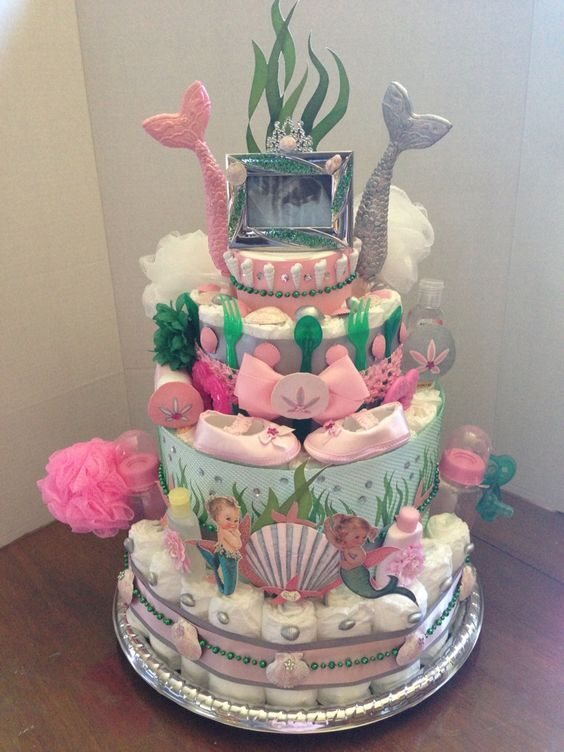 Vintage mermaid diaper cake made by Deanna Mize: