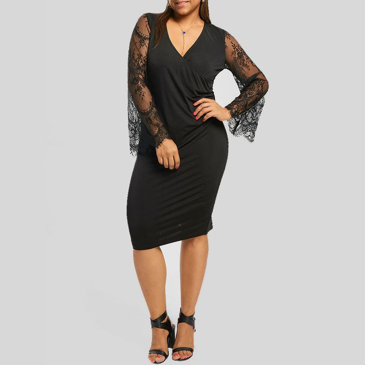 Plus Size Ladies Lace Flare Sleeve Black Pencil Dress Sheath Dress Xl-5Xl