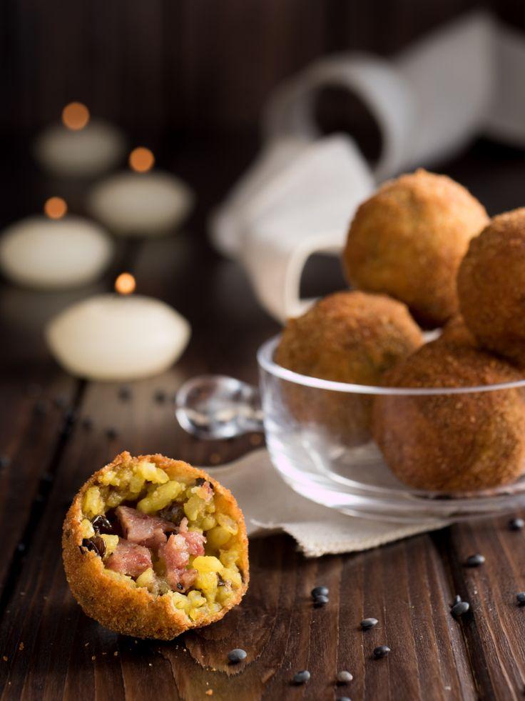 Arancinette cotechino e lenticchie - finger food capodanno
