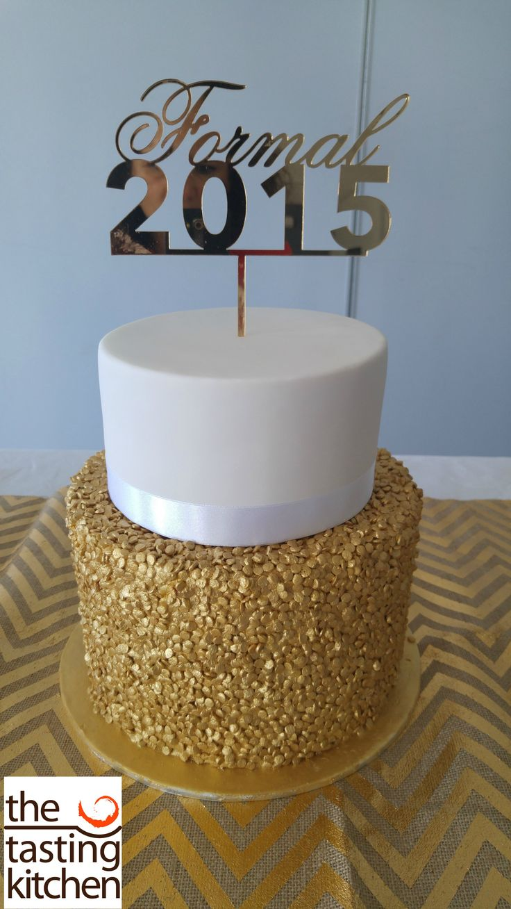 Year 10 Formal cake, 2 tier, white and gold