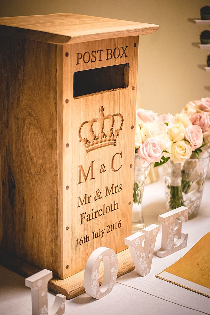 A Summer Wedding at Capheaton Hall. Wooden wedding post box.  Image by JPR Shah Photography.  Read more: http://bridesupnorth.com/2016/12/12/disney-magic-tipis-pronovias-for-a-summer-wedding-at-capheaton-hall-caitlin-mark/  #wedding