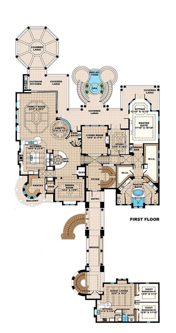Mediterranean Style House Plan - 6 Beds 6 Baths 20075 Sq/Ft Plan #27-538 first floor