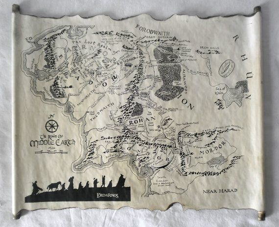 Lord Of The Rings Map Middle Earth Map The Hobbit Map on Handmade Scroll Map of…
