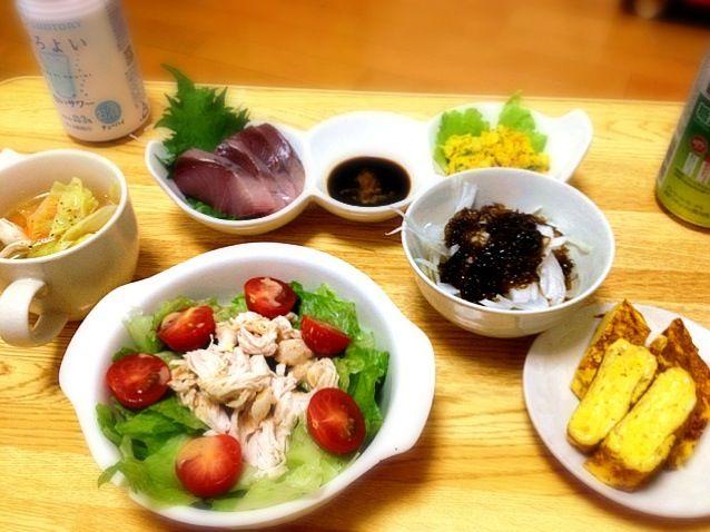 友達が家にきたので簡単に - 7件のもぐもぐ - ささみサラダ、新玉もずく、お造り、野菜スープ、かぼちゃサラダ、だし巻き by matan777