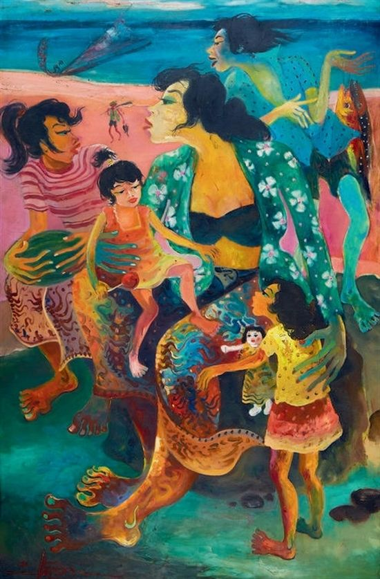 Hendra Gunawan (Indonesian, 1918–1983), Ibu dan Anak Anak, 1980. Oil n canvas.