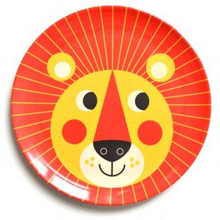 #Lion #Melamine #Plate by #Ingela P #Arrhenius from http://www.kidsdinge.com  https://www.facebook.com/pages/kidsdingecom-Origineel-speelgoed-hebbedingen-voor-hippe-kids/160122710686387?sk=wall   http://instagram.com/kidsdinge #Kids #Kidsdinge #Toys #Speelgoed
