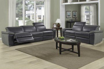 Enjoy an ambiance of refined modern elegance with the Aura Black Top Grain Leather Power Reclining Sofa and Loveseat by Levoluxe. This designer sofa set includes a sofa and loveseat, each with two power reclining seats, and offers a modular design for custom configuration. Featuring an Adjustable   headrest and footrest support and recline with the touch of a finger and relax in sophisticated comfort and style.
