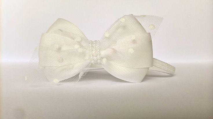 Elegancka opaska kokardka ivory z tiulem w kropki - MadebyKaza - Opaski dla niemowląt