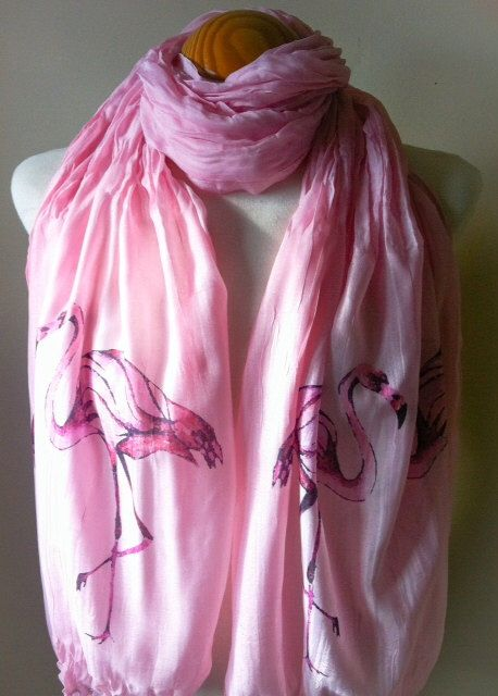 Long Flamingo Boho Scarf. Pink with Pink Flamingo birds design. Hand printed. Chiffon/Light cotton style. Gift for her. by NeishArt on Etsy https://www.etsy.com/listing/174119177/long-flamingo-boho-scarf-pink-with-pink