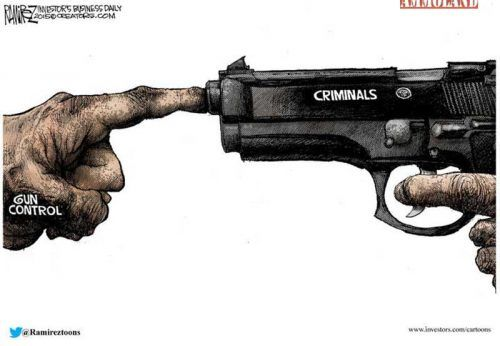 """Gun Controlers Keeping a Finger on Criminals  Art by Michael Ramirez      Keeping a Finger on Criminals      AmmoLand Gun News    USA –  -(Ammoland.com)- Gun Controlers Keeping a Finger on Criminals.  Because we all know how good that has worked, even Forrest Gump knows better… """"""""Stupid is as stupid does.""""  Did you enjoy this cartoon?    Sign up for Ammoland  inyour Inbox and get our daily cartoon and email news!   You call yourself pro-gun? Prove it by joining anyone or all of th.."""