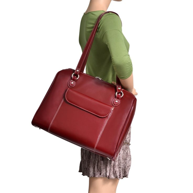 McKlein Glenview Ladies' Leather Briefcase with Removable Sleeve