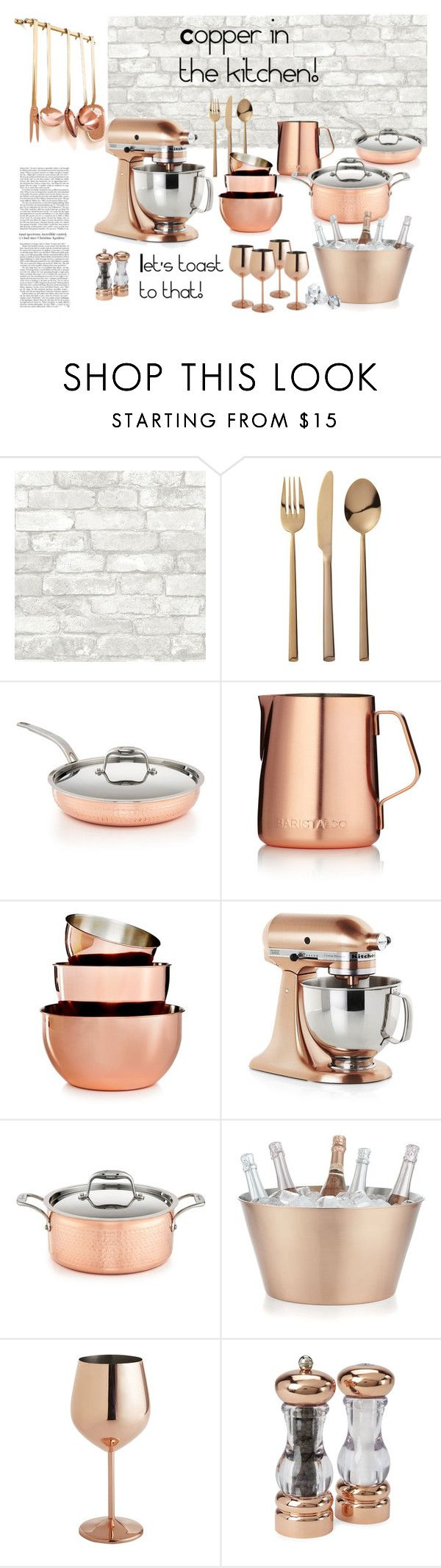 """Copper in the kitchen!"" by suelysara ❤ liked on Polyvore featuring interior, interiors, interior design, home, home decor, interior decorating, CB2, Lagostina, Barista & Co and Martha Stewart"