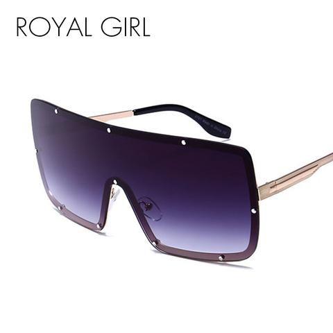 8cc4ea01be ROYAL GIRL Sexy Oversized Sunglasses Women New Designer Big Frame Rivet  Mirror Sun Glasses Shades Men Windproof Eyewear ss307